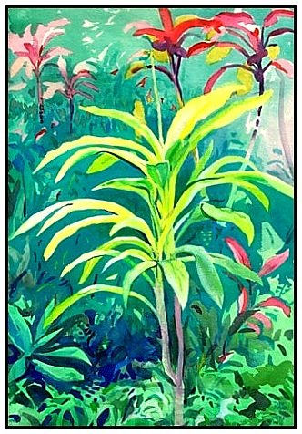yellow ti plant, watercolor