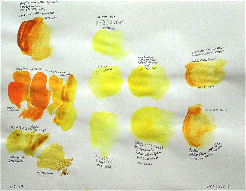 Acrylic INDIAN YELLOW PY100 White Paper