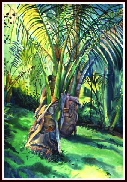 Two Palms, Water Color