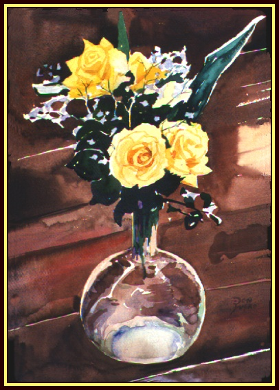 #95, Rose Vase Still Life, water color, 15x22